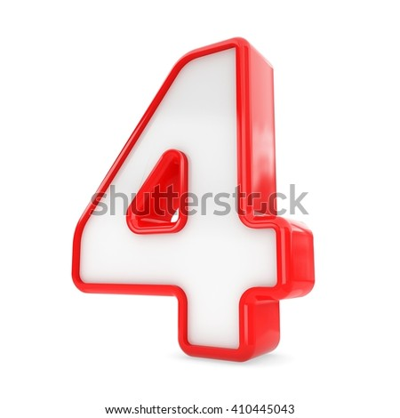 3d red and white plastic number 4 four isolated white background. - stock photo