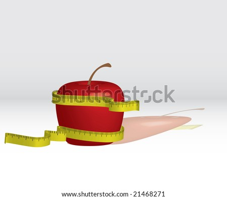 3D red apple for diet - stock photo