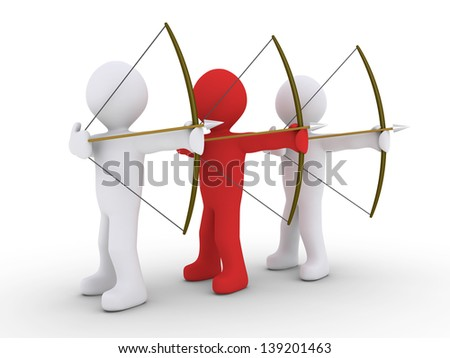 3d red archer as leader and other two archers are aiming - stock photo