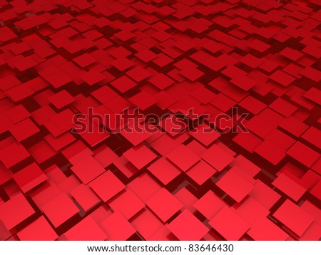 3d red area background cube abstract pattern - stock photo