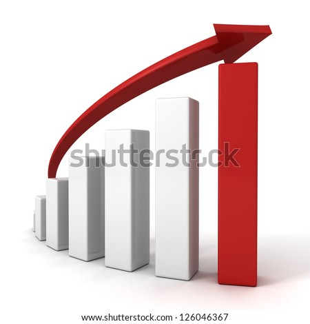 3d red arrow and success bar graph growing up - stock photo