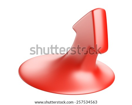 3D red arrow directional upward, concept of growth - stock photo