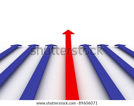 3d red  arrow go up lift - stock photo