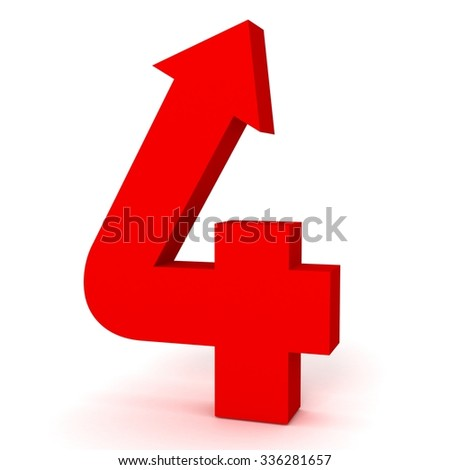 3d red arrow number four 4 with isolated white background - stock photo