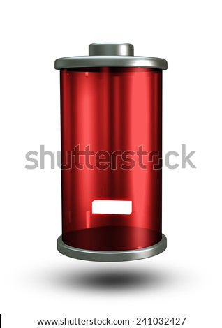 3D Red Battery icon Depleted Power energy, negative sign object isolated - stock photo