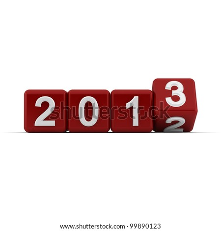 3D red blocks with the transition from year 2012 to 2013 - stock photo