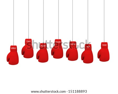 3d red boxing gloves with social media text - stock photo