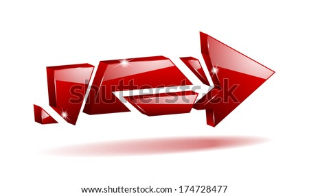 3D red broken arrow pointer with reflection (raster version, available as vector too) - stock photo