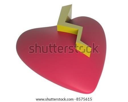 3d red broken heart - stock photo