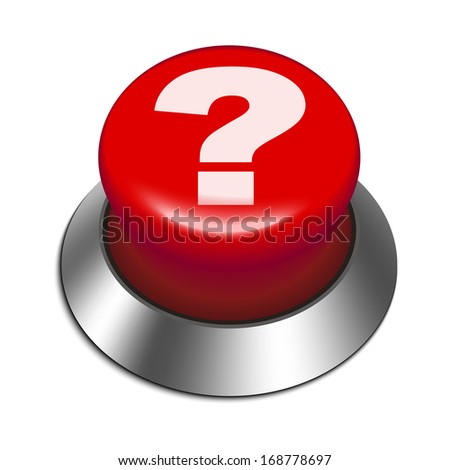 3d red button with question mark isolated white background  - stock photo