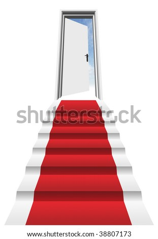 3D red carpet on a stair in front of an opened door to a blue sky - stock photo
