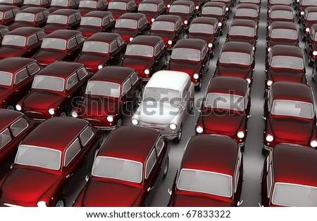 3d Red Cars - stock photo
