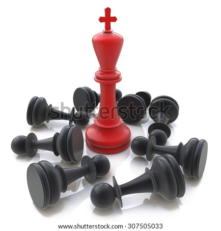3D Red Chess King winning over Black Pawns  - stock photo