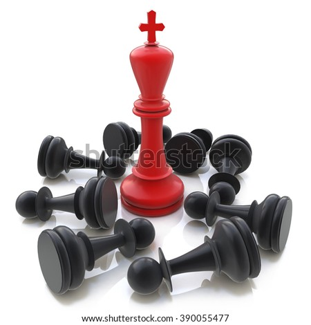 3D Red Chess King winning over Black Pawns in the design of the information associated with winning strategy - stock photo