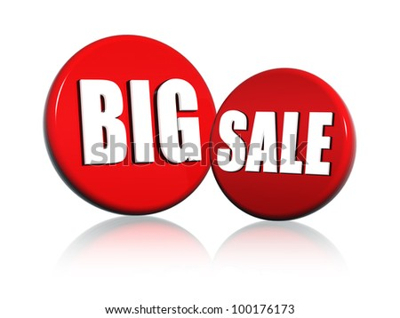 3d red circles with white letters with text big sale - stock photo