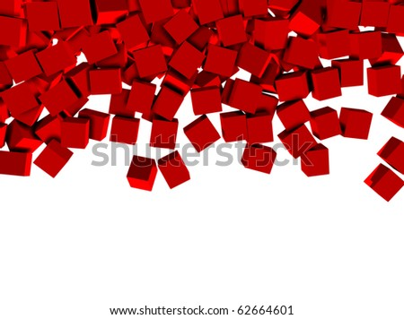 3d red cubes isolated on white background - stock photo