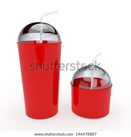 3d red cups and lids, tops and straws 2 sides for container drinks or beverage in isolated background with clipping paths, work paths included - stock photo