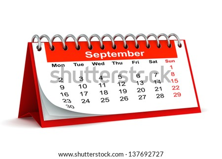 3d red desk paper 2013 year calendar - month of september - stock photo