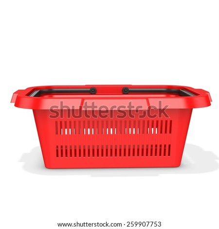 3d red empty shopping basket on white background - stock photo