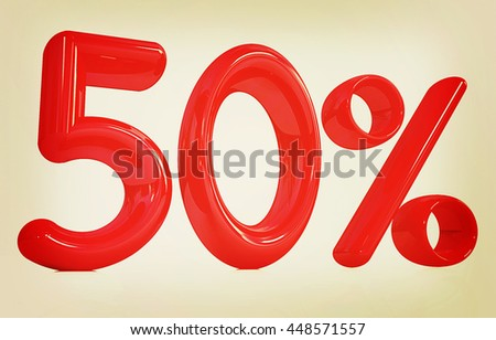 "3d red ""50"" - fifty percent on a white background. 3D illustration. Vintage style. - stock photo"