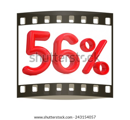 """3d red """"56"""" - fifty six percent on a white background. The film strip - stock photo"""