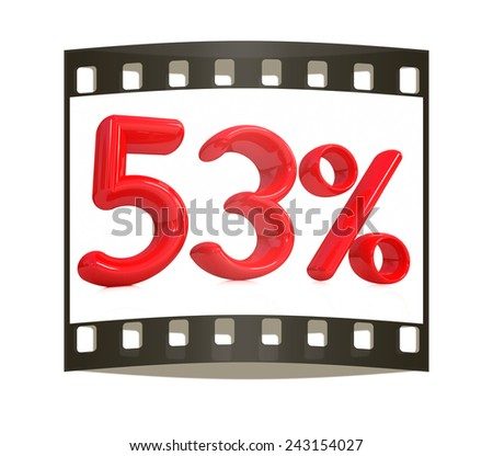 """3d red """"53"""" - fifty three percent on a white background. The film strip - stock photo"""