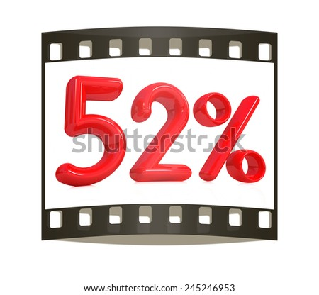 """3d red """"52"""" - fifty two percent on a white background. The film strip - stock photo"""