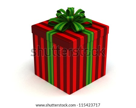 3D red Gift christmas box with green bow on the white - stock photo