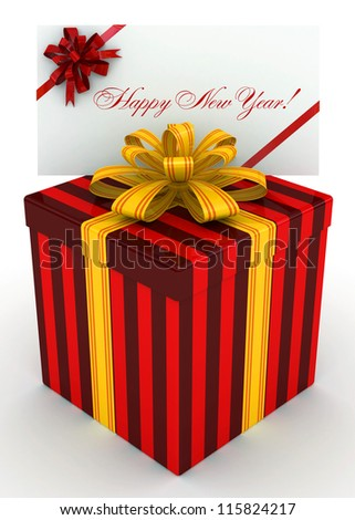 3D red Gift christmas box with new year postal, envelope - stock photo
