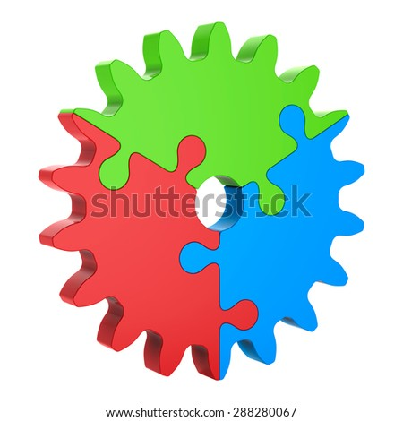 3d Red Green Blue Puzzle Gear, Isolated on White. Partnership Concept. - stock photo