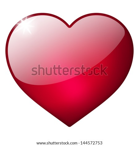 3d red heart button - stock photo