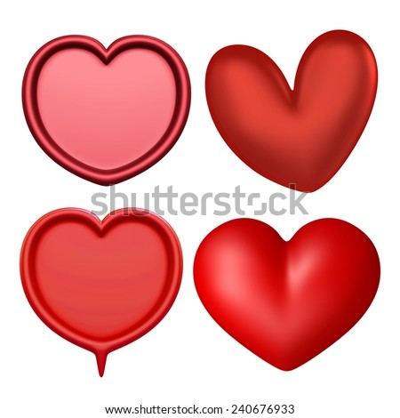 3D Red heart color, Icon object front view isolated - stock photo