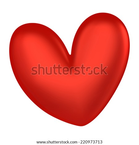 3D Red heart color, isolated - stock photo