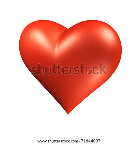 3D red heart over white - stock photo