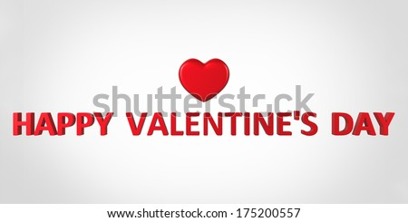 3D Red heart with red text - stock photo