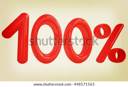 "3d red ""100"" - hundred percent on a white background. 3D illustration. Vintage style. - stock photo"