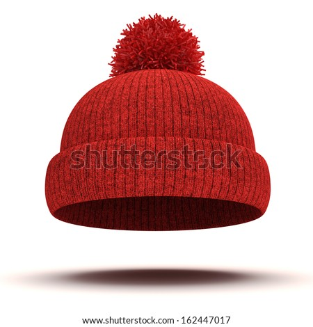 3d red knitted winter cap on white background - stock photo
