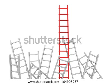 3d red ladder and white ladder/ leader/ competition - stock photo