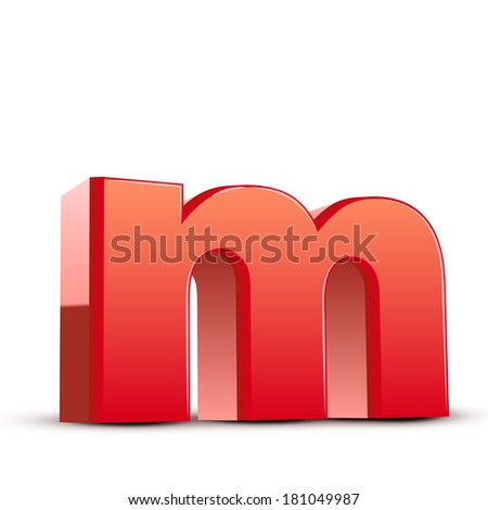 3d red letter m isolated white background - stock photo