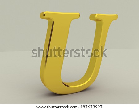 3d red letter U isolated white background  - stock photo
