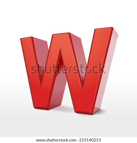 3d red letter W isolated on white background  - stock photo