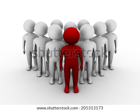 3D red man standing out of crowd. 3d illustration of leadership concept  - stock photo