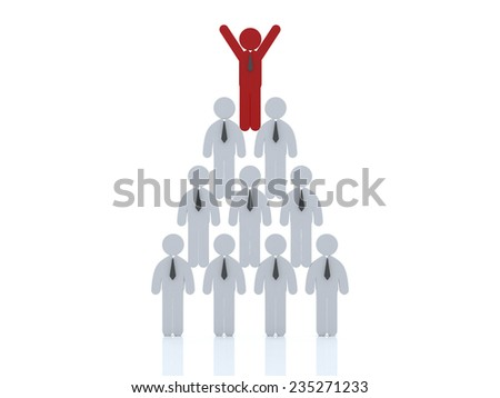 3d Red man standing with arms wide open up on top of pyramid over white background , Leadership concept  - stock photo
