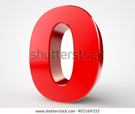 3d red number 0 collection on white background illustration 3D rendering - stock photo