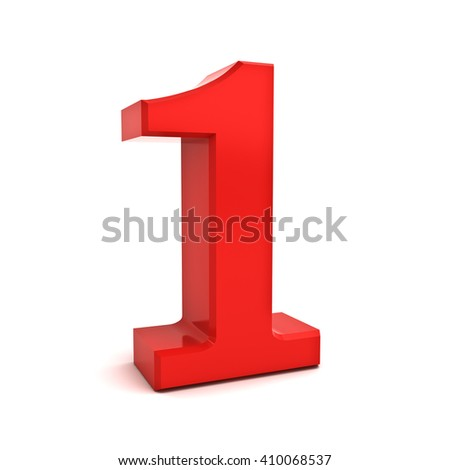 3D red number one isolated over white background. 3D rendering. - stock photo