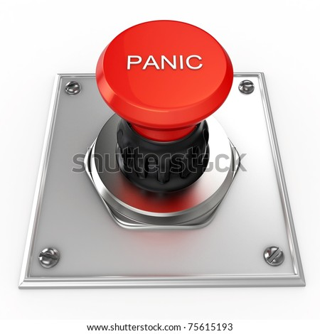 3d red panic button isolated on white - stock photo
