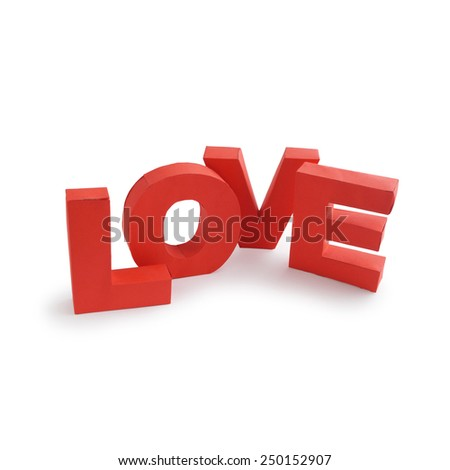 3d red paper love letters isolated on a white background - stock photo