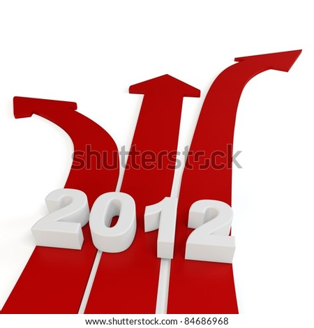 3d red path arrows with 2012 on white background - stock photo