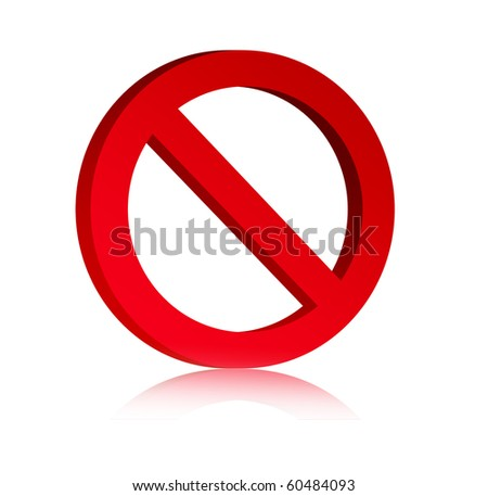 3d red prohibited symbol over white background, Empty to insert text or design - stock photo