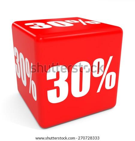 3D red sale cube. 30 percent discount. Illustation. - stock photo